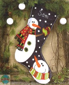 Dimensions: Snowman Christmas Stocking, Felt Applique KitNew for 2012 Felt Christmas Stockings, Christmas Snowman, Winter Christmas, Christmas Ornaments, Snowman Kit, Christmas Sock, Christmas Sewing, Handmade Christmas, Christmas Embroidery