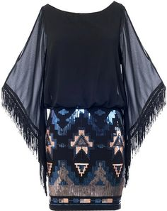 Flyaway Angel Dress: Features a wide boat neckline framed by slitted sheer chiffon sleeves, beautiful fringe trim decorating the lower arm area, solid black backside, and a sparkling sequin mosaic skirt to finish.