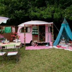Cute little pink camper...