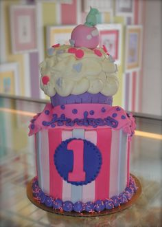 Pink and Purple Cupcake First Birthday Cake  LeahsSweetTreats.com