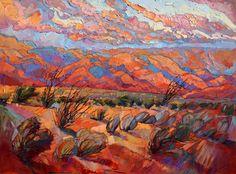 "Ocotillo oil painting ""Dance of the Sagebrush"" by Erin Hanson"