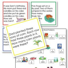 Our Preschool Math Word Problems set are great for oral problems or for independent work by young readers. The set includes addition, subtraction, multiplication and division problems. Each problem is illustrated and has a border with the traditional Montessori colors for each operation.