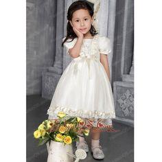 Off White A-line Princess Scoop Tea-length Taffeta Beading Flower Girl... ❤ liked on Polyvore