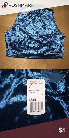 Crop top High neck crop top from forever 21. Never worn. Blue velvet material Forever 21 Tops Crop Tops