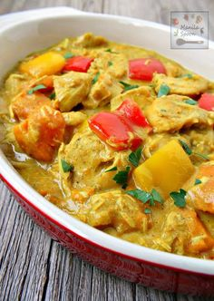Gluten-free, paleo-friendly, healthy and delicious Filipino-style coconut chicken curry flavored with fresh ginger and other spices, sweet potatoes and bell peppers. Does require minding and multiple steps on the stove. 30 mins.