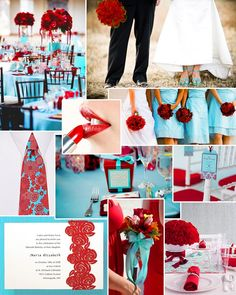 red and turquoise wedding, wedding flowers, wedding decor, retro wedding