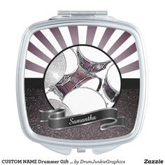 CUSTOM NAME Drummer Gift Drum Makeup Mirror