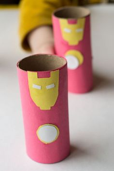 This Iron Man toilet paper roll craft is super easy and super fun! Great for little hands that are just learning scissor skills.