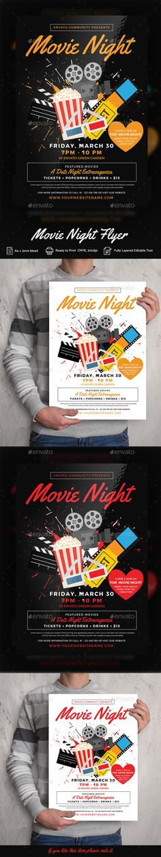 Movie Night Flyer Templates — Photoshop PSD #school #movie • Download ➝ https://graphicriver.net/item/movie-night-flyer-templates/19724948?ref=pxcr