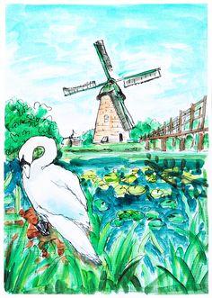 Windmill painting. Landscape Holland. Goose painting. Dutch art. Windmill wall art. Room decor birds. Acrylic painting Holland. Animal art