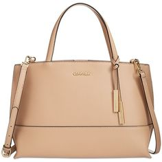 Calvin Klein Triple Compartment Premium Leather Satchel (£180) ❤ liked on Polyvore featuring bags, handbags, nude, leather satchel handbags, leather purse, calvin klein handbags, handbag satchel and nude purses