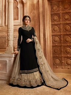 Black Georgette Embroidered Party Wear Lehenga Style Suit