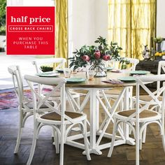Provincial Oak Round Dining Table 1400mm Distressed White