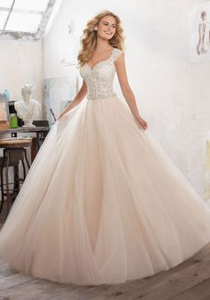 Morilee by Madeline Gardner 'Marigold' 8126 | Princess Ballgown is Brought to Life with Crystal Beaded Embroidered AppliquŽés on Tulle Over Sparkle Net. The DiamantŽ Waistband Adds a Perfect Touch of Glamour. Covered Buttons Accent Back