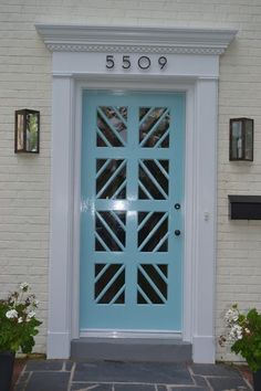 """Few things say, """"Welcome,"""" like a fun and festive front door color. Door Design, Exterior Design, House Design, Garage Door Styles, Garage Doors, Contemporary Front Doors, Cool Doors, Front Door Colors, Front Entrances"""