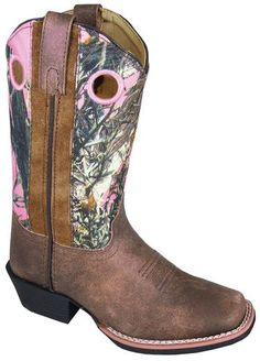 Smoky Mountain Boots Youth Girls Mesa Brown/Pink Camo Leather