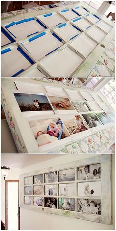 DIY Picture Frames With Old Door: Create an organized gallery wall by taping your family photos to the back of an old door with glass panes. Love how it turns out be a stunning wall decor piece!