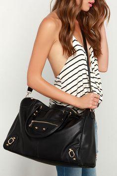 Girls' Weekend Black Weekender Bag at Lulus.com!