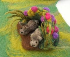 needle felted nature play mats