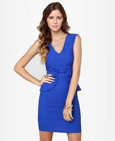 Chic to Chic Royal Blue Dress royal blue hoco dress / royal blue party dress / blue gown royal / white and royal blue wedding / blue dress royal Royal Blue Party Dress, Royal Blue Dresses, Blue Gown, V Neck Dress, Peplum Dress, Lace Dress, Sheath Dress, Online Dress Shopping, Blue Fashion