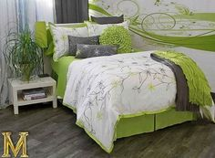 Lime green and grey bedroom - too much white but like the general color scheme.