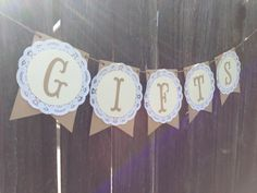 Shabby Chic Gifts Table Banner-Bunting, Wedding, Baby Shower, Lace, Paper Doilie on Etsy, $15.00