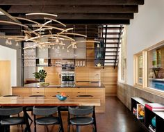 Love clean lines of kitchen and the paneled back wall with storage