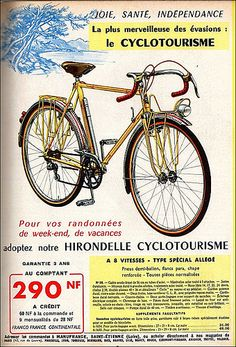 the 1960s-ad for Hirondelle cyclotourisme Ad Bicycle