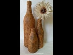 DIY Botella vintage:: Masking tape Vintage bottle (Diorizella Events & Crafts), My Crafts and DIY Wine Bottle Corks, Glass Bottle Crafts, Diy Bottle, Glass Bottles, Masking Tape Art, Jar Art, Altered Bottles, Vintage Bottles, Bottle Painting