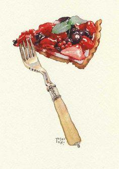 Love Eat, Love Food, Dessert Illustration, Chibi Food, Food Sketch, Watercolor Food, Food Painting, Food Drawing, Kitchen Art