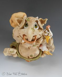 Walther the Troll Ceramic Pottery by BlueFishStudiosShop on Etsy, £80.00