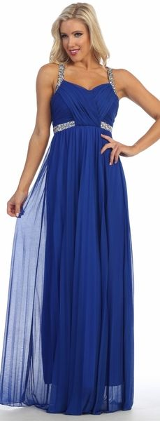 A-Line Long Prom and Evening Dress with Sweetheart Neckline and Ruched Bodice with Open Back featuring Sparkling Beading Embellished Crossed Straps and Zipper Closure, Floor Length Flowing Skirt Completes the Style. New Dress, Dress Up, Winter Formal Dresses, Prom Long, Royal Blue Dresses, A Line Gown, Black Tie, Chiffon, Prom Dresses