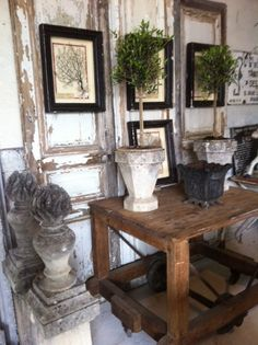 French Finds and Salvaged Doors - framed prints, hung from salvaged doors, is a great way to add height and interest to a room + no holes in the wall - Atelier de Campagne