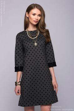 22.11.17 3100 Платье серое длины мини в горошек с V-образным вырезом на спинке в интернет-магазине 1001 DRESS