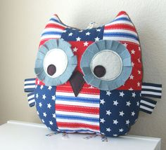 Hey, I found this really awesome Etsy listing at https://www.etsy.com/listing/101638969/sale-stars-and-stripes-patchwork-owl