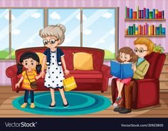 Scene with family having a good time at home vector image on VectorStock Tracing Worksheets, Preschool Worksheets, House Vector, Art Drawings For Kids, Vector Design, Adobe Illustrator, Vector Free, Design Inspiration, Scene