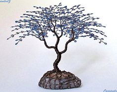 Red Cherry Blossom Beaded Bonsai Wire Tree Sculpture by CassandraZ