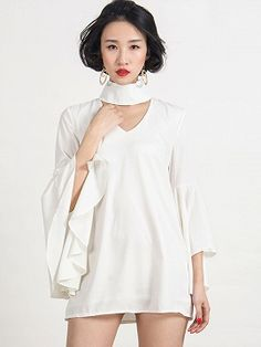 Shop White High Neck Cut Out Detail Belle Sleeve Dress from choies.com .Free shipping Worldwide.$11.9
