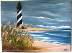 Cape Hatteras Lighthouse an Original Oil in full color on  24x18x1 canvas on Etsy, $159.00