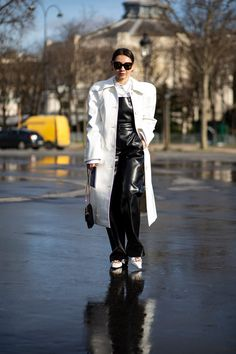 The Best Street Style Looks From Paris Fashion Week Fall 2020 - Fashionista Street Fashion Show, Paris Fashion, Autumn Street Style, Street Style Looks, Rainy Outfit, French Brands, People Sitting, Style Snaps, Style Inspiration