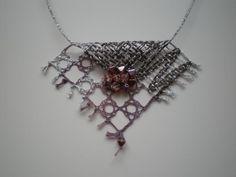 Autor: Eliška Koubová Bobbin Lace Patterns, Wire Crochet, Lacemaking, Lace Heart, Lace Jewelry, Needle Lace, String Art, Lace Detail, Creations