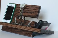 Large Wallet Night Stand Oak Wood Valet iPhone Galaxy Charging Stand Nightstand Dock Graduation Father's Day Birthday For Him or Her