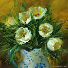 Nancy Medina Art: Winter White Tulips - Flower Painting Classes and ...