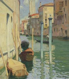 """Venetian Canal,"" Ernest Martin Hennings, oil on canvas laid down on board, 13¾ x 12"", private collection."