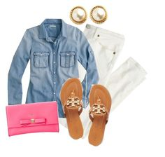 """""""Chambray Weather ~ Meg"""" by preppy-tippers ❤ liked on Polyvore featuring J.Crew, Tory Burch and Kate Spade"""