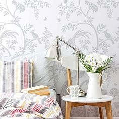 The Birds and Berries Chinoiserie Wall Mural Stencil from Cutting Edge Stencils is a DIY wall pattern that recreates the Chinoiserie wallpaper… Bird Stencil, Stencil Diy, Stencil Designs, Damask Stencil, Stenciling, Chinoiserie Wallpaper, Chinoiserie Chic, Of Wallpaper, Chinese Wallpaper