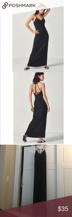 Fabletics Maxi Dress Fabletics Evelyn Maxi Dress in Black. Super cute strap design. Has built in bra with removable pads. Bought for a trip to Mexico and didn't end up wearing it. Brand new with tags. Perfect condition! Size is Medium 6-8 Fabletics Dresses Maxi