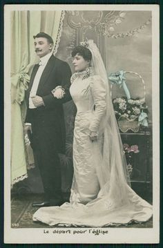Lady Bride Groom Marriage Wedding original vintage old 1910s photo