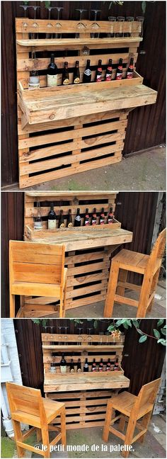No doubt that bar counter and chairs structures are turning into one of the primary choose of house wine areas. In all such conditions, we would provi… - All For Garden Pallet Bar Stools, Wood Pallet Bar, Wooden Pallets, Pallet Chairs, Garden Furniture Design, Pallet Garden Furniture, Bar Furniture, Diy Garden Bar, Pallet Closet