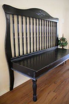 Photo: Bench made from a crib ~ nice :) <3  via http://adiamondinthestuff.com/2011/04/turn-crib-into-bench.html